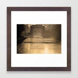 Bridge in morning sun and mist Framed Art Print