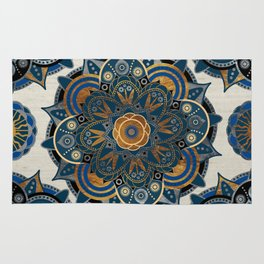 Mandala Blue and Gold Rug