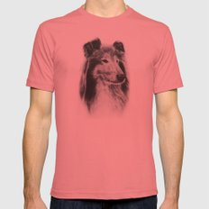 Rough Collie Dog LARGE Pomegranate Mens Fitted Tee