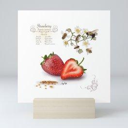 Strawberry and Pollinators Mini Art Print
