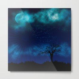 Blue Moon Night Sparkle Metal Print