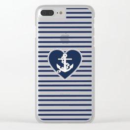 Modern navy blue white heart anchor nautical stripes Clear iPhone Case