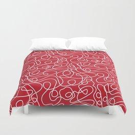 Doodle Line Art | White Lines on Dark Red Duvet Cover