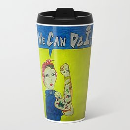 Modern Rosie the Riveter Travel Mug