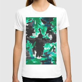 psychedelic vintage camouflage painting texture abstract in green and black T-shirt