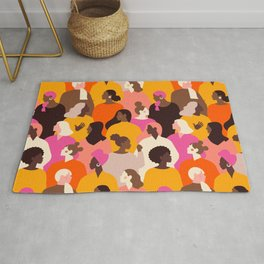 Female diverse faces pink Rug