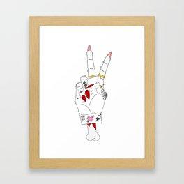 Peace, love and tattoos Framed Art Print