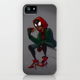 Miles Morales Loves Pizza Breaks in the Spider-Verse iPhone Case