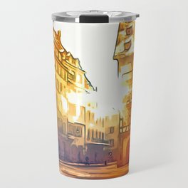 in front of Cathedrale Notre-Dame Travel Mug