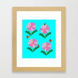 Spring Flowers and Lady Bugs with Blue Framed Art Print