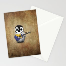 Baby Penguin Playing Bosnian Flag Acoustic Guitar Stationery Cards