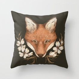 The Fox and Dogwoods Throw Pillow