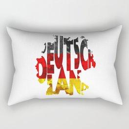 Deutschland Typographic World Map / Germany Typography Flag Map Art Rectangular Pillow
