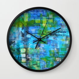 Abstract Blue Blue Wall Clock
