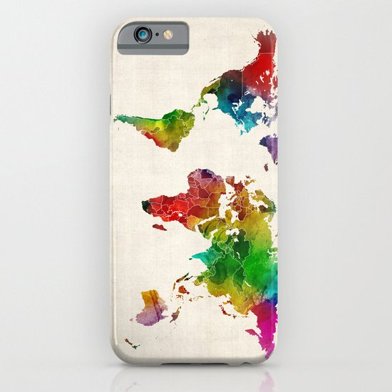 Watercolor Map of the World Map iPhone & iPod Case