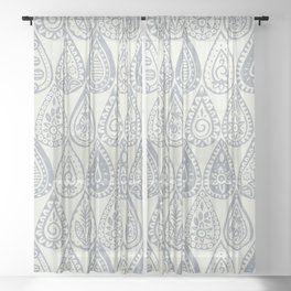 Indian raindrops silver Sheer Curtain