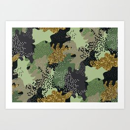Modern military clothing camouflage glitter illustration pattern Art Print