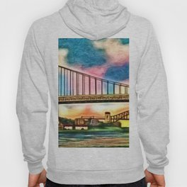 New York & Queens Hell Gate and Triborough Bridges Sunset Landscape Painting Hoody