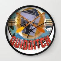 quidditch Wall Clocks featuring AZKABAN QUIDDITCH TEAM VINTAGE by karmadesigner