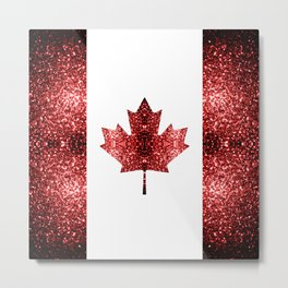 Canada flag red sparkles Metal Print