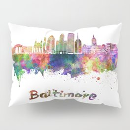 Baltimore skyline in watercolor Pillow Sham