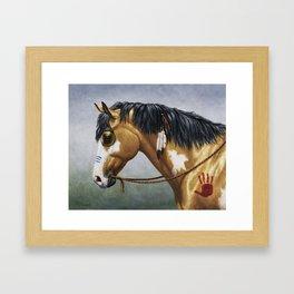 Native American Buckskin Pinto War Horse Framed Art Print