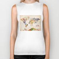 world map Biker Tanks featuring world map by Bekim ART