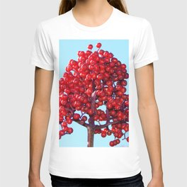 Rowan Berry Branch Top is Red on  Blue Nature T-shirt