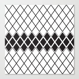 Rombs Black and white pattern Canvas Print