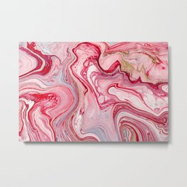 Red Liquid Swirl Metal Print
