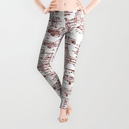 F-18 Blueprints // Red Ink Leggings