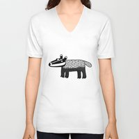 badger V-neck T-shirts featuring Badger by Nic Squirrell