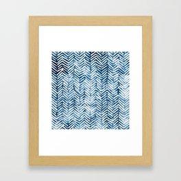Boho Blue Shibori Tribal Pattern Framed Art Print