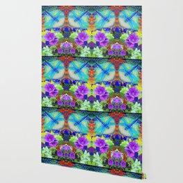 "BLUE ""ZINGER"" DRAGONFLIES  & PURPLE FLOWERS ART Wallpaper"