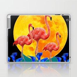BLACK PINK FLAMINGOS FULL MOON BLUE LILIES Laptop & iPad Skin