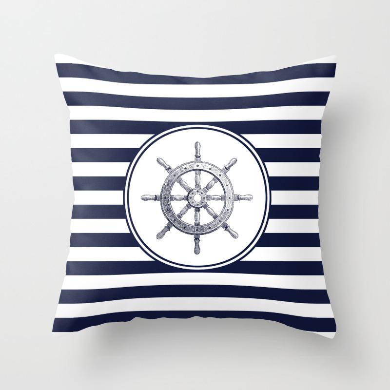 Steering Wheel And Navy Blue Stripes Throw Pillow By Fantasyartdesigns Society6