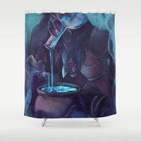 digimon Shower Curtains featuring Dorchamon by carbontrap