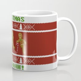 Ugly Christmas Sweater Scared Gingerbread Men Red Coffee Mug