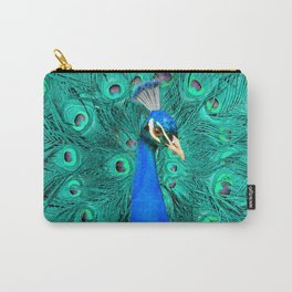 Pretty Blue Peacock Bird Modern Cottage Chic Art A467 Carry-All Pouch