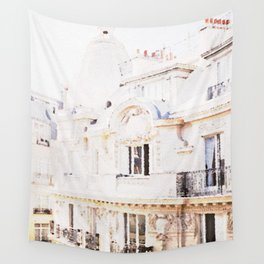 Paris Rooftops Watercolor Wall Tapestry