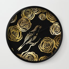 Nightingale and roses Wall Clock