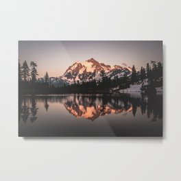 Alpenglow - Mountain Reflection - Nature Photography Metal Print