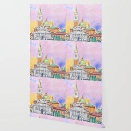 Venice. San Giorgio Maggiore. Andrea Palladio. Architecture. Watercolor Wallpaper
