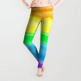 Neon Rainbow Watercolor Stripes Leggings