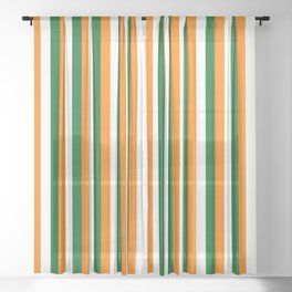 Team Colors 4... orange green white Sheer Curtain