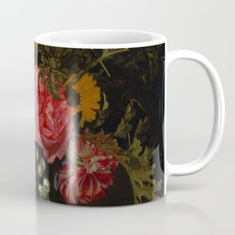 "Maria van Oosterwijck ""Flowers in a vase on a marble ledge"" Coffee Mug"