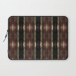 Bold Red Black and Gold Pattern Textured Stripe Print Laptop Sleeve