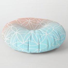 Peach and Blue Geometric  Floor Pillow