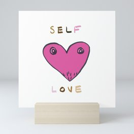 self love print, pink heart, skin tones, self love illustration, self care Mini Art Print