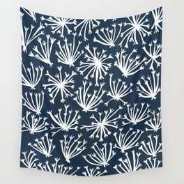Queen Anne's Lace – White on Navy Wall Tapestry